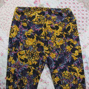 LuLaRoe Golden Mustard & Purple Leggings Pant